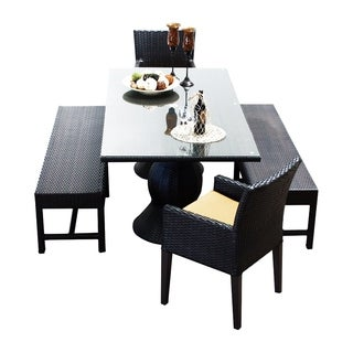 Provence OH0557 Outdoor Patio Wicker Dining Set with 2 Benches and 2 Chairs