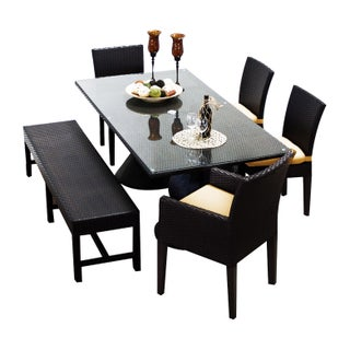 Provence OH0553 Outdoor Patio Wicker Dining Set with Bench and 4 Chairs