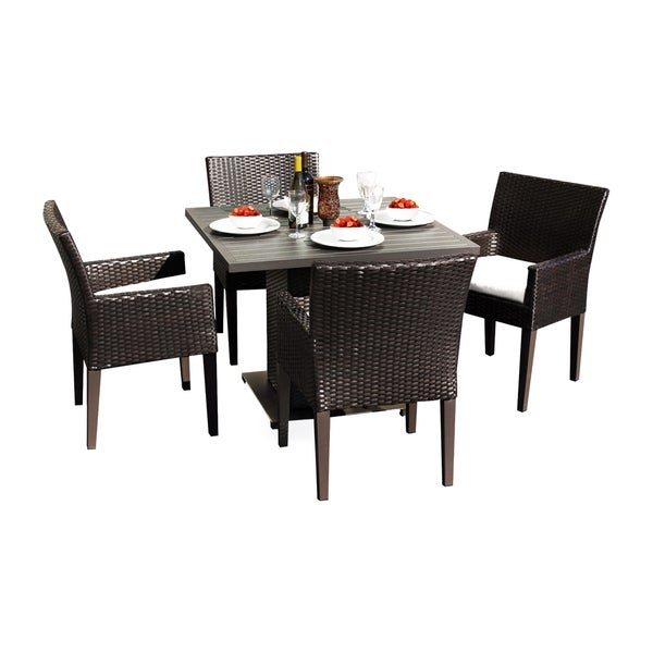Provence OH0571 Outdoor Patio Wicker Dining Set with 4 Arm Chairs