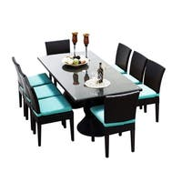 Provence OH0567 Outdoor Patio Wicker Dining Set with 8 Side Chairs