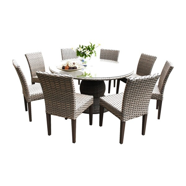 Sea Breeze OH0608 Outdoor Patio Wicker Dining Set with 8 Side Chairs