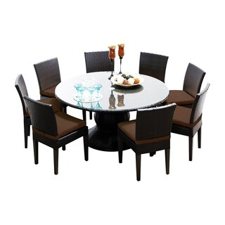 Provence OH0542 Outdoor Patio Wicker Dining Set with 8 Side Chairs