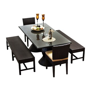 Provence OH0555 Outdoor Patio Wicker Dining Set with 2 Benches and 2 Chairs