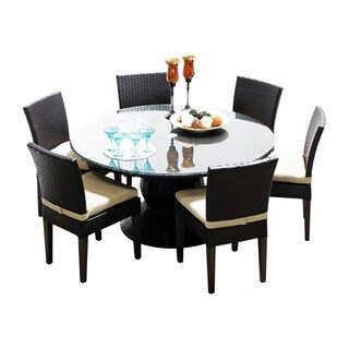 Provence OH0540 Outdoor Patio Wicker Dining Set with 6 Side Chairs