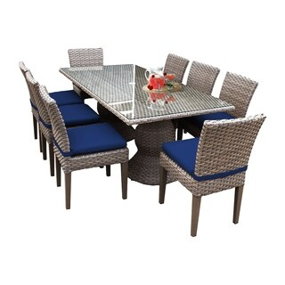 Sea Breeze OH0623 Outdoor Patio Wicker Dining Set with 8 Side Chairs