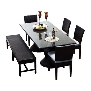 Provence OH0561 Outdoor Patio Wicker Dining Set with Bench and 4 Side Chairs (More options available)