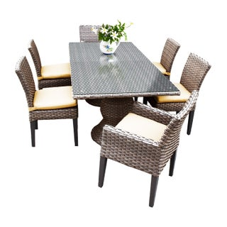Sea Breeze OH0617 Outdoor Patio Wicker Dining Set with 4 Side Chairs and 2 Arm Chairs (Option: Weather Resistant/Umbrella Hole/Cushion Included - With Cushions - YELLOW)
