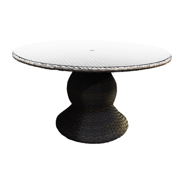 Charmant Sea Breeze OH0603 Outdoor Patio Round Wicker Dining Table With Glass Top