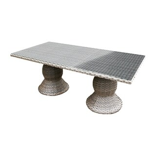 Sea Breeze OH0615 Outdoor Patio Wicker Dining Table with Glass Topper