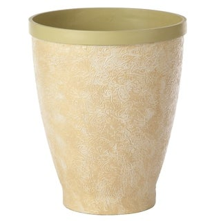 Hand-Made Embossed Beige Cream Planter, Large