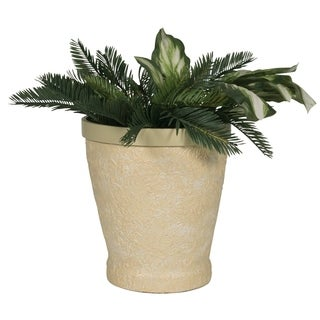 Hand-Made Embossed Beige Polyresin Planter, Medium