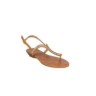 Xehar Womens Stylish T-Strap Slingback Rhinestone Thong Flat Sandal