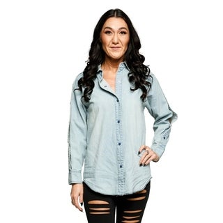 Xehar Womens Casual Long Sleeve Snap Closure Denim Tee Shirt Top