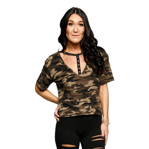Xehar Womens Sexy T-Choker Camaflouge Tee Shirt Tank Top