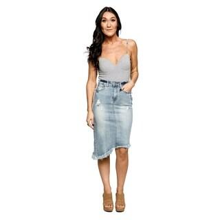 Xehar Womens Asymmetrical Distressed Ripped Frayed Denim Skirt