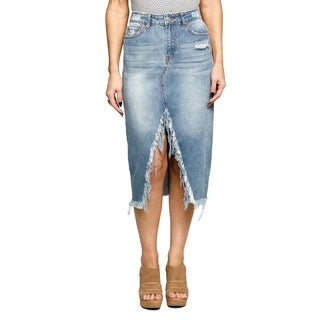Xehar Womens Casual Sexy Midi High Front Cut Out Denim Skirt