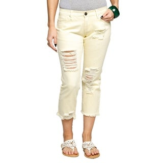 Xehar Womens Cute Comfy Distressed Ripped Cropped Jean Capri Pants (More options available)