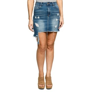 Xehar Womens High Waisted Distressed Ripped Denim Mini Pencil Skirt
