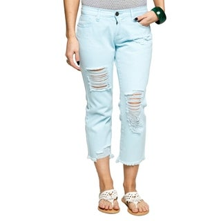 Xehar Womens Cute Comfy Distressed Ripped Cropped Jean Capri Pants