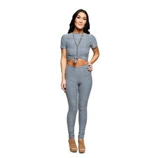 Xehar Womens Sexy Distressed Crop Top Pants Tracksuit (2 Piece Set)