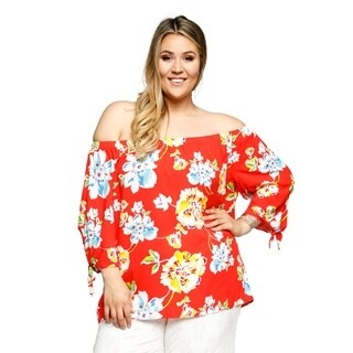 Xehar Womens Plus Size Casual Sexy Off Shoulder Floral Blouse Top