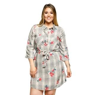 Xehar Womens Plus Size Casual Plaid Flannel Floral Short Shirt Dress