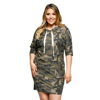 Xehar Womens Plus Size Camaflouge Long Pullover Hoodie Midi Dress