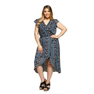 Xehar Womens Plus Size Casual Sexy Floral Wrap Midi Dress
