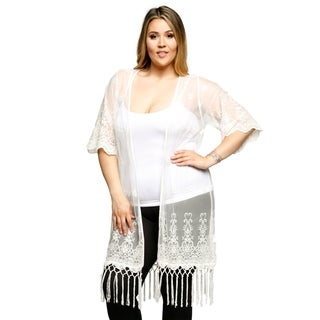 Xehar Womens Plus Size Mesh Embroidered Long Body Fringe Cardigan (3 options available)