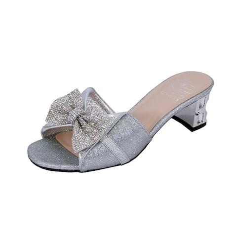ee293cc1f5f0 FLORAL Farrah Women Wide Width Rhinestone Bow Ornate Block Heel Sandal