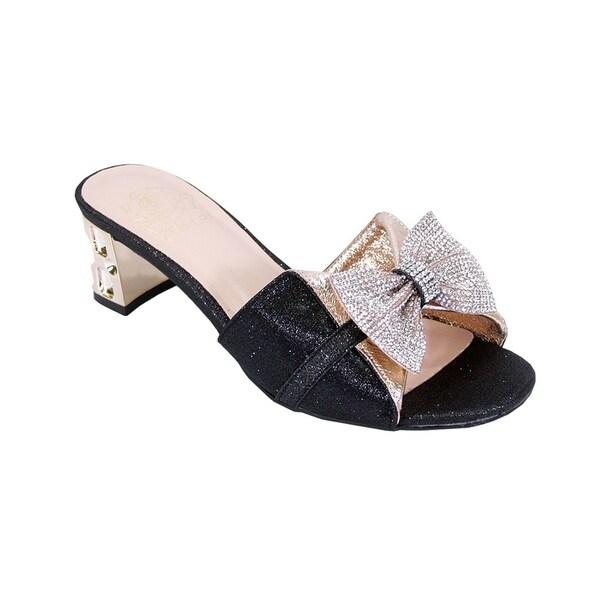 135119bb111374 Shop FLORAL Farrah Women Wide Width Rhinestone Bow Ornate Block Heel ...