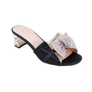 99c85c760349 FLORAL Farrah Women Wide Width Rhinestone Bow Ornate Block Heel Sandal