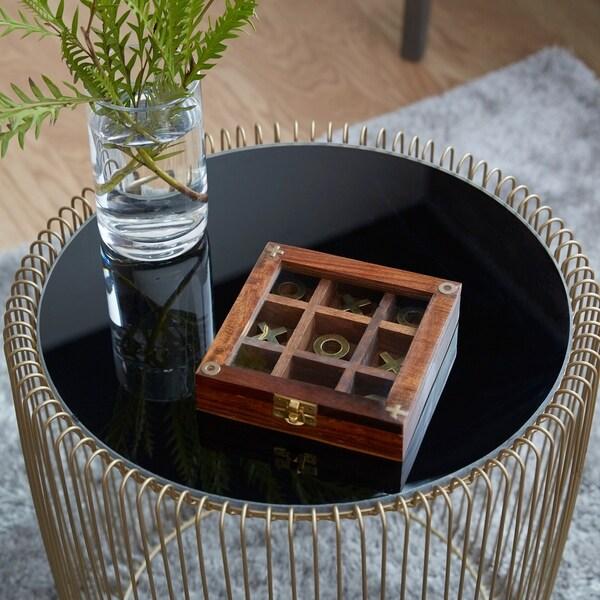 Porch & Den Oakcrest Wood And Brass Tic-tac-toe (1 X 6)