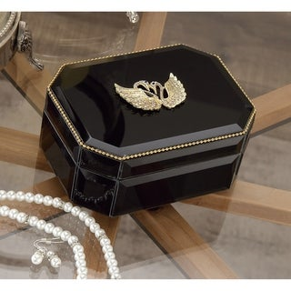 Silver Orchid Valkyrien Wood Swan Black Glass Box
