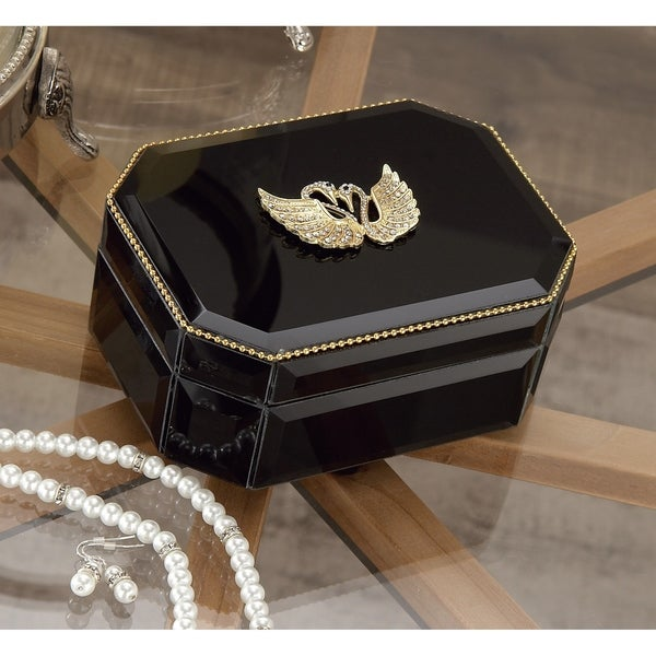Silver Orchid Valkyrien Wood Swan Black Glass Box