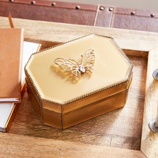 Silver Orchid Valkyrien Wood Butterfly Gold Glass Box