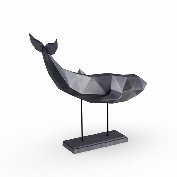 Carbon Loft Lippershey Coastal Iron And Resin Faceted Imitative Whale Sculpture