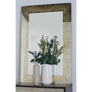 Silver Orchid Compson Gold Wood Rectangular Framed Wall Mirror