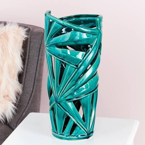 "Modern Green Ceramic Vase with Palm Leaf Silhouette 8"" x 16"""
