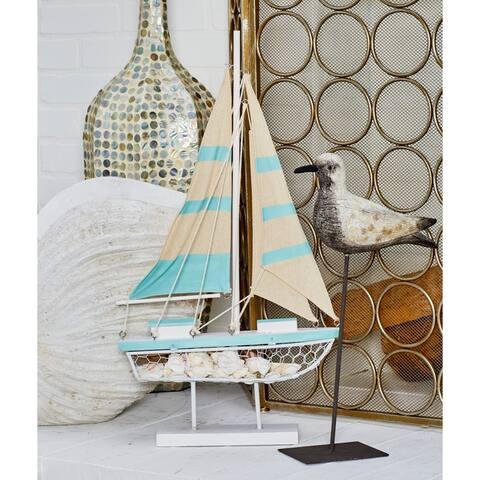 Porch & Den Mola Coastal Wood And Metal Green Sailing Boat Sculpture On Stand