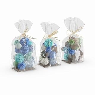 Porch & Den Mola 3-pack Coastal Blue, Brown And Green Sola Balls Decorative Bags