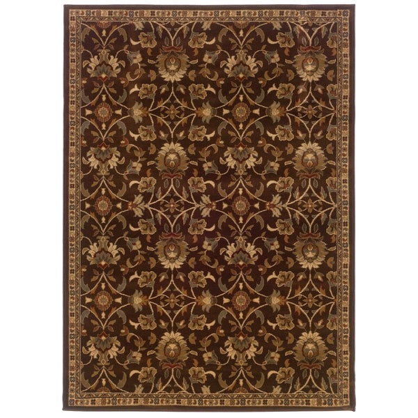 "Copper Grove Rouyn Brown Floral Area Rug - 8'2"" x 10'"