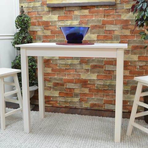 Porch & Den Lowrey Antique White Pub Bar Table