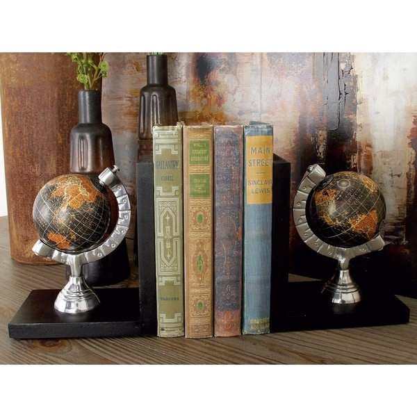 Copper Grove McNallie Natural Finish Wood Aluminum Globe Bookend