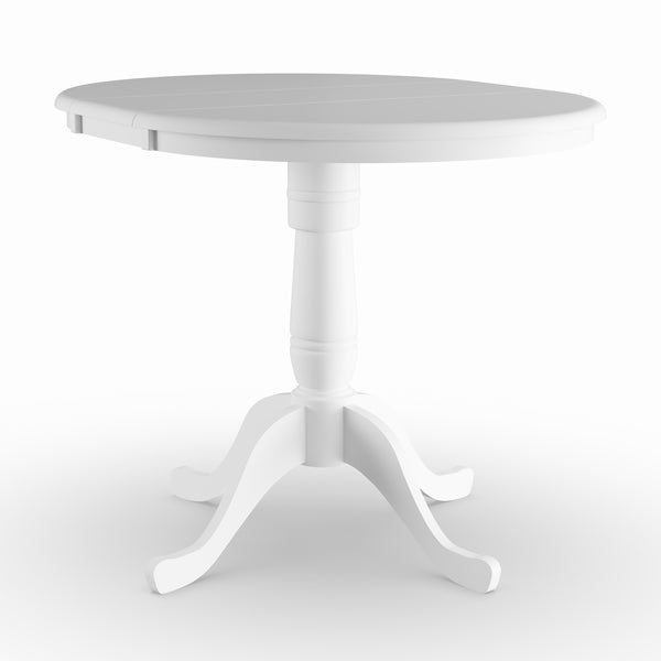 Havenside Home Knotts 36 Inch White Round Pedestal Table With 12 Leaf