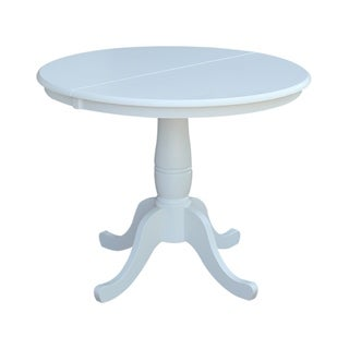 Copper Grove Jefferson 36-inch White Round Top Pedestal Table with 12-inch Leaf
