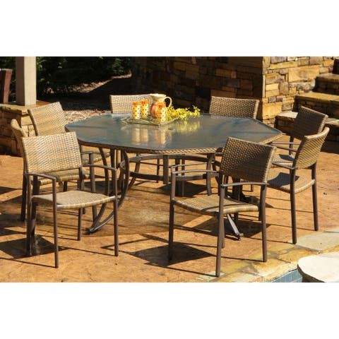 Cape 9-piece Maracay Outdoor Octagon Dining Set by Havenside Home