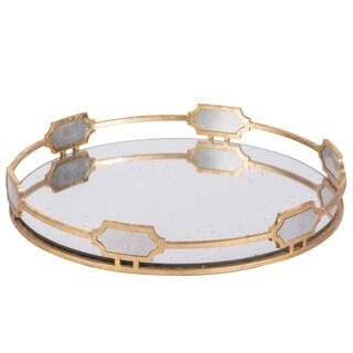 Sovann 16-inch Vintage Gold Round Tray