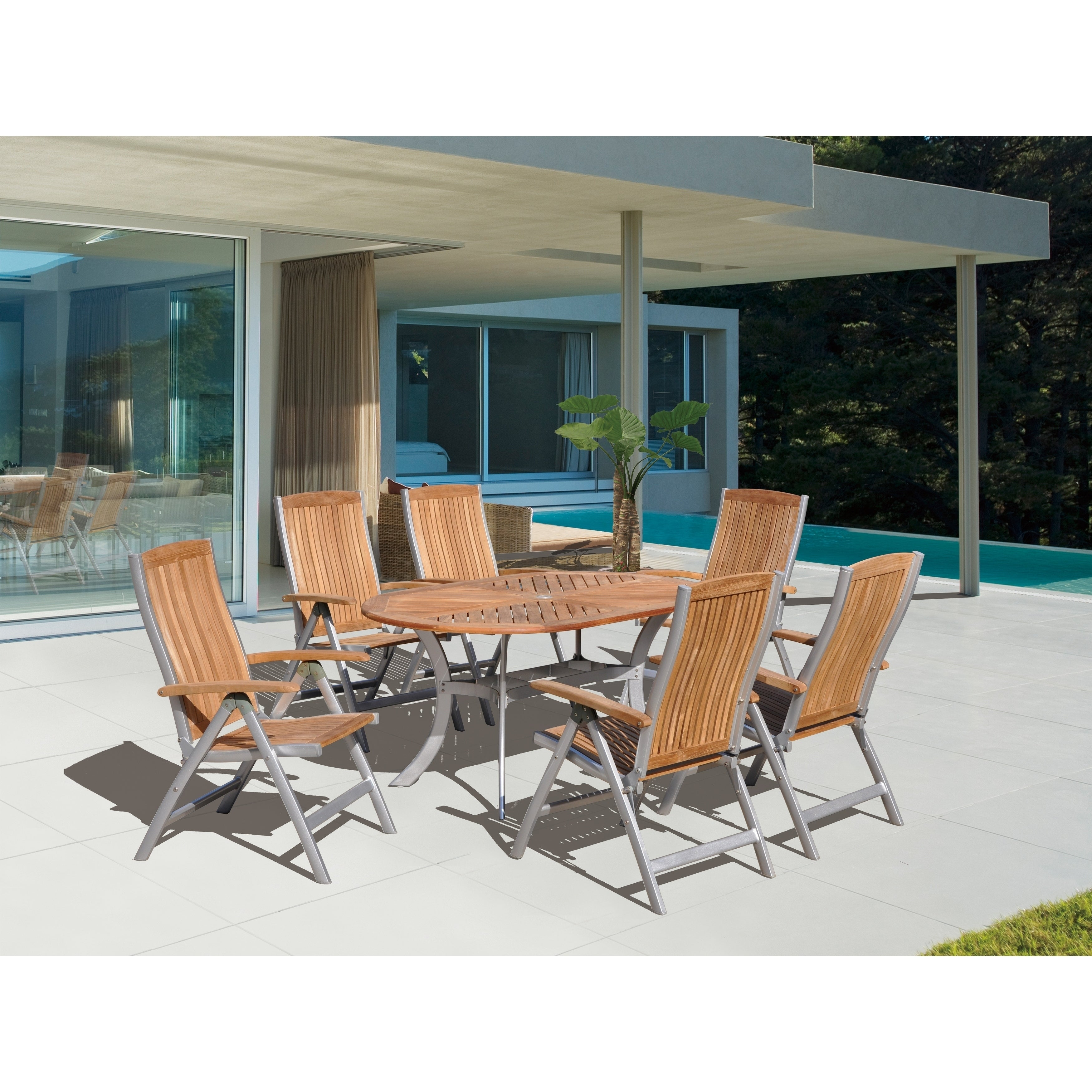 Details about havenside home goodwin natural finish teak and aluminum outdoor chair