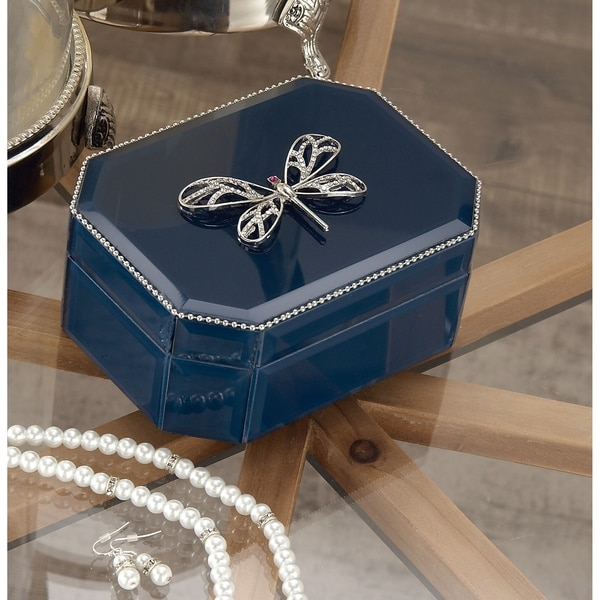 Silver Orchid Valkyrien Wood Dragonfly Blue Glass Box